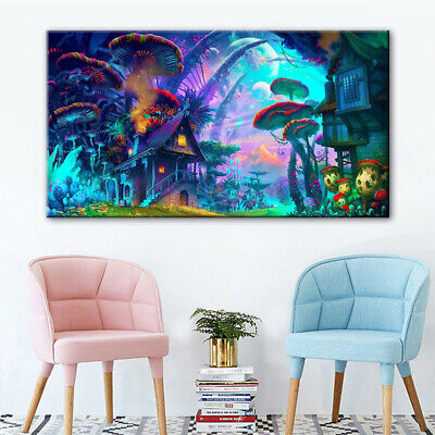 Psychedelic Mushroom Town Print Silk Poster Picture Trippy Fabric Wall Art Decor