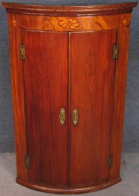 Georgian Inlaid Mahogany Bow Front Hanging Corner Cabinet Cupboard