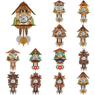 Vintage Cuckoo Wall Clock Bird Time Bell Wooden Swing Alarm Watch Home Decor
