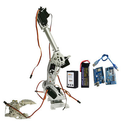Wireless 8 DOF Robot Arm Gripper Kit High Torque Servo Power Suite Silver