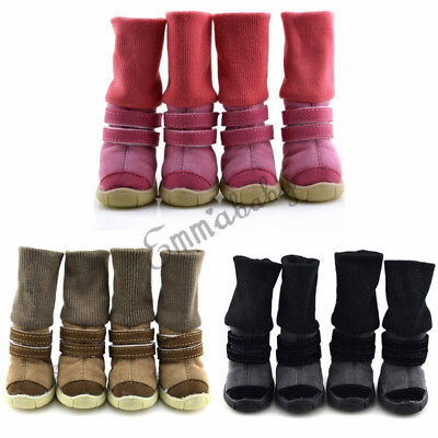 4Pcs Pet Waterproof Rain Shoes Winter Anti-slip Boots Socks for Small Puppy Dog