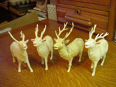 4 Vintage Celluloid Reindeer Christmas Holiday era '40s - One with Glass Eyes