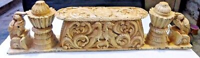 Antique Wood figurine carved Panel fine Carving early temple lintel India DECOR