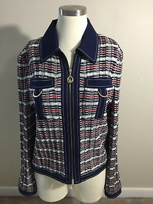 St. JOHN Sport Marie Gray Navy Blue Red White Santana Knit Blazer Jacket Small
