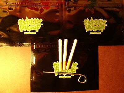 """3 X METAL Ceramic Bat One Hitter Cigarette Style Dugout 3"""" W POKER 3 SMELLY BAGS"""
