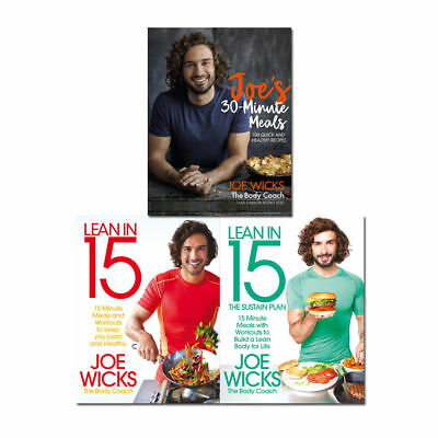 Joe wicks Lean in 15 and Joe's 30 Minute Meals 3 books collection set Pack NEW