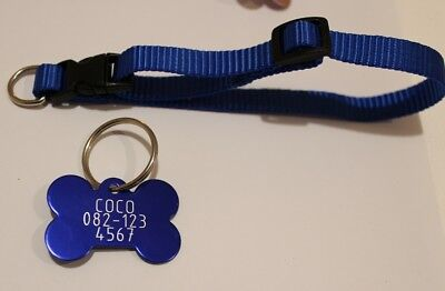 FREE COLLAR DOG TAG FOR SMALL DOG ID DISC PERSONAL chihuahua papillon yorkshire.