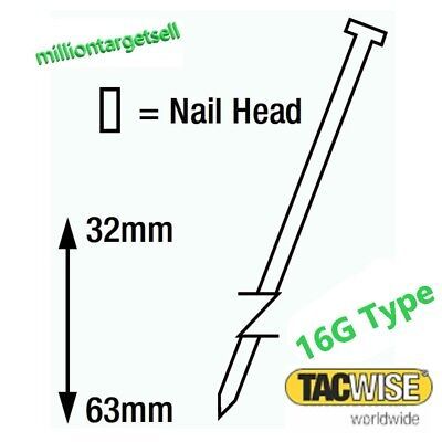100-2500 Brad Nails Galvanised Angled Gauge 16G Tacwise 32 38 45 50 63 mm