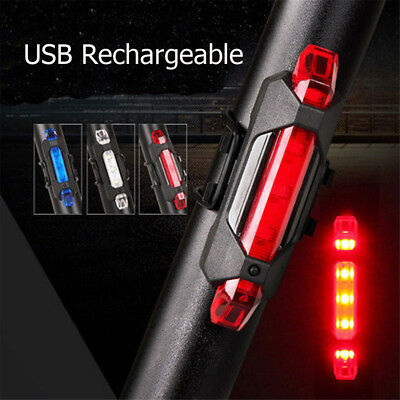 5LED USB Rechargeable Bike Tail Light Bicycle Safety Cycling Warning Rear Lamp N