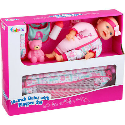 NEW Tinkers 14-inch Baby With Playpen Set Doll Pretend Play Birthday Gift AU