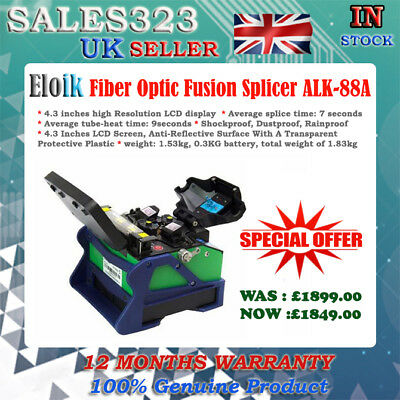 """ALK-88A Fiber Optic Fusion Splicer Cleaver Automatic Focus Function 4.3"""" LCD"""