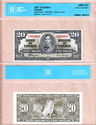 BC25c 1937 $20 Bank of Canada KGVI Coyne/Towers J/E Prefix, CCCS STRICT CH UNC63