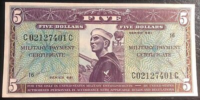 M80 5 Dollars ND (1969) Military Certificate