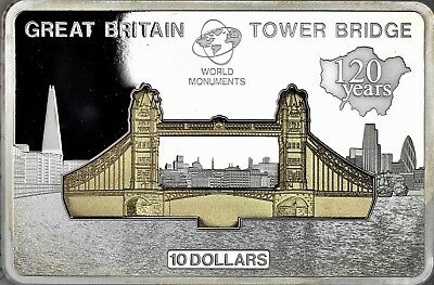 Cook Islands 10 Dollar 2014 Tower Bridge Münzbarren Silber Polierte Platte T6-14