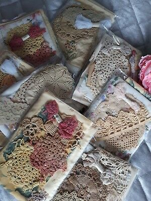 Hand Dyed Vintage Fabric Crochet Lace Scrap Sewing Remnant Craft Pk Noughat