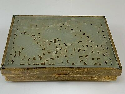 Antique Chinese Brass Divided Box w/ Intricately Carved Jade Lid