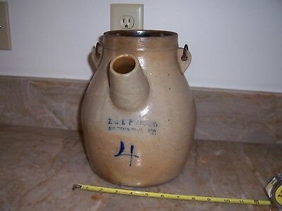 Antique Cobalt Blue Decorated Stoneware Batter Pitcher Bennington Vt 4 Qt. NoRes