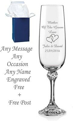 Personalised Engraved Champagne Prosecco Glass Flute Any Message Bridesmaid Gift