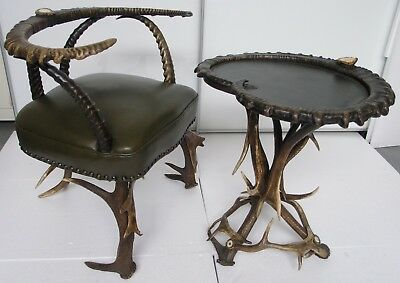 Rare Antique Black Forest Ibex Horn &antler Table &chair