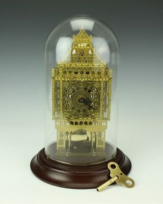 Hermle Big Ben Franklin Mint Gilt Brass Skeleton Domed Glass Shelf Mantle Clock