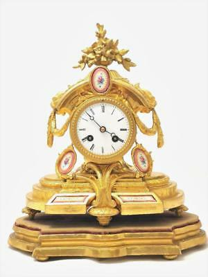 Antique French Japy Fils 1855 Gt & Sevres Porcelain Striking Mantle Clock & Base