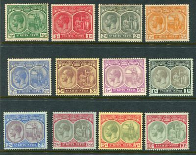 ST KITTS NEVIS 1920-22 KGV MH to 10 Shillings 12 Stamps