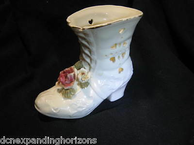 Vintage Ivory-color Porcelain Lace-Up Boot / Shoe Vase Gold Edging 3-D Pink Rose