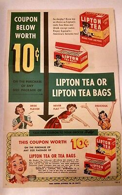 Vintage Lipton Advertising Coupon 1940s Unused New Colorful Mailer