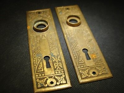Antique Pair Bronze Escutcheon Plates Key Hole Covers East Lake Style Arch Salv.
