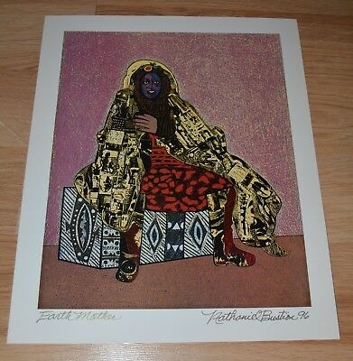 NATHANIEL BUSTION AFRICAN AMERICAN ARTIST PRINT SIGNED e