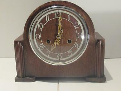 Superb c1949 Original 8 Day Smiths Enfield Striking Mantle Clock w Key, Pendulum