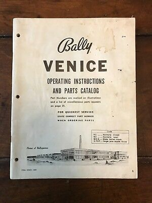 "1968 Bally ""Venice"" Pinball Operating Instructions and Parts Catalog"