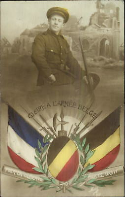 WWI Belgium Army Soldier French & Belgian Flags Tinted Real Photo Postcard
