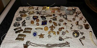 Vintage WWII U.S. Pin Lot Military Airforce Gold Silver Pins, Buttons, & Others