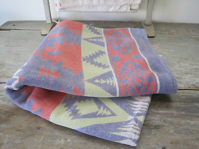 Vintage Primitive Red White Blue Green Fabric Camp Blanket American Country Find