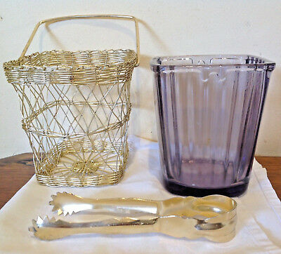 Retro Mauve Glass Ice Bucket In Wire Cage Japan