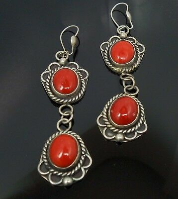 Vintage Pair American Indian Sterling Silver Red Coral Cabochon Dangle Earrings