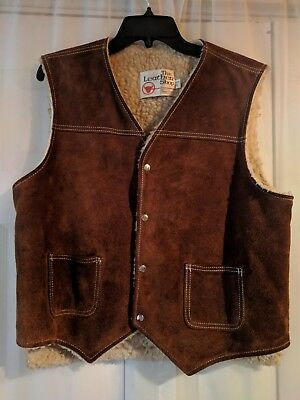 Vintage~The Leather Shop~Suede~Sears~Vest~Western~Faux Sherpa~Sherling~L~USA