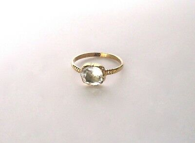 Antique Georgian 15 ct. Yellow Gold Ring With Cushion Cut-Style Paste Stone