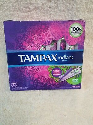 Tampax Radiant Super Absorbency Tampons, Unscented, 32 Tampons  (J8)
