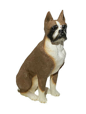 BOXER CROPPED DOG Figurine Statue Hand Painted Resin Living Stone