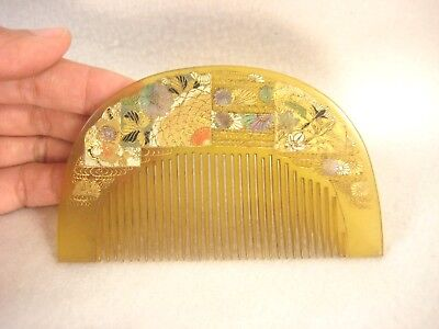 Antique Japanese Taisho Era Kanzashi Hair Piece Bekko Shell Floral