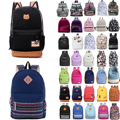 Womens Ladies Girls Canvas Backpack Travel Sport School Shoulder Bags Rucksack