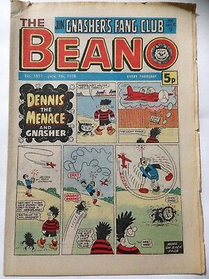 DC Thompson THE BEANO Comic. Issue 1851 January 7th 1978 **FREE UK POSTAGE**
