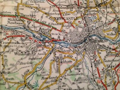 Newcastle On Tyne Vintage Michelin Map Of Great Britain. No. 5