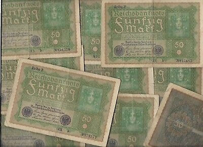 100 Years Old Post WWI War Berlin 50 Mark Dollar Note Germany Collection Lot-us