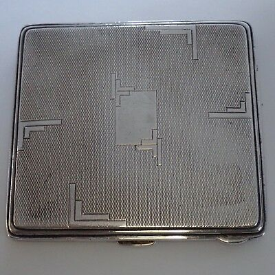 Vintage English Art Deco Sterling Silver Cigarette Case