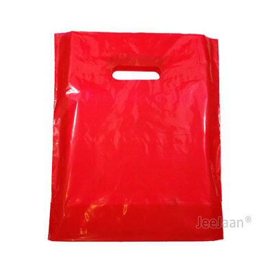 """100 Red Plastic Carrier Bags 10""""x12""""+4"""" Gift  Party Shop Carry Patch Handle"""