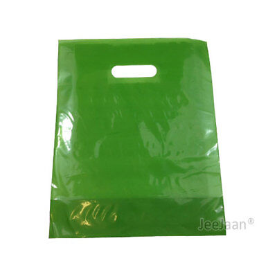 "100 Harrods Green Plastic Carrier Bags 10""x12""+4"" Gift  Party Shop Patch Handle"