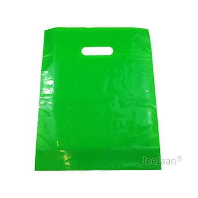 "100 Apple Green Plastic Carrier Bags 10""x12""+4"" Gift  Party Shop Patch Handle"